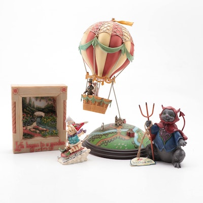 """Jim Shore for Enesco """"Balloon Ride"""" Figurine with Other Figurines and Ornament"""