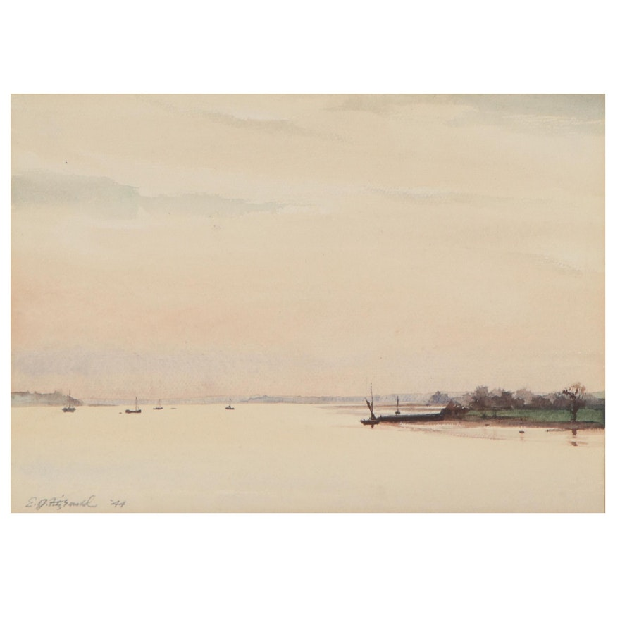 """Edmond Fitzgerald Harbor Scene Watercolor Painting """"Evening on the Stoup,"""" 1944"""