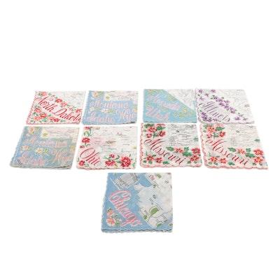 Ranshaw Cotton Souvenir State Scalloped Edge Handkerchiefs