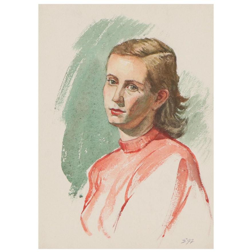 Edmond Fitzgerald Portrait Watercolor Painting