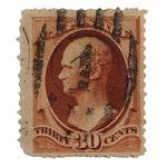 Hamilton 30-Cent Orange/Brown Stamp, Scott #217, 1888