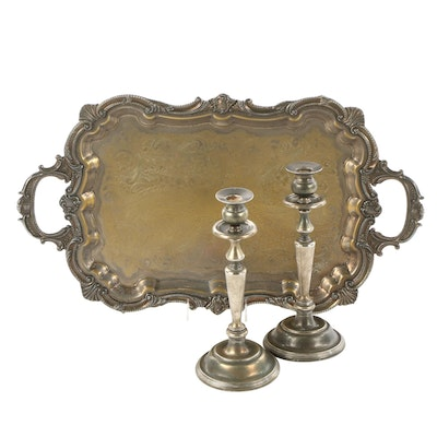 Birmingham Silver Co. Serving Tray, and Candlesticks, Mid to Late 20th Century