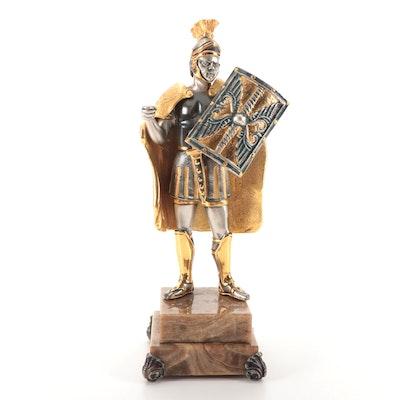 Anna Dauesiu Roman Soldier Gilt and Silvered Bronze Figurine on Onyx Base