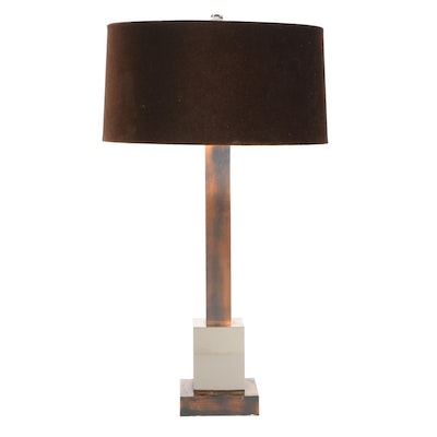 Frederick Cooper Silver and Bronzed Metal Square Column Table Lamp