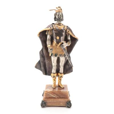 Anna Dauesiu Charlemagne Gilt and Silvered Bronze Figurine on Onyx Base