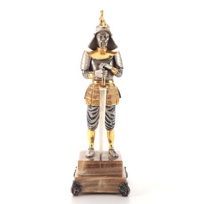 "Anna Dauesiu ""Man the Warrior"" Gilt and Silvered Bronze Figurine"