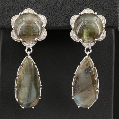 Sterling Labradorite and Cubic Zirconia Drop Earrings