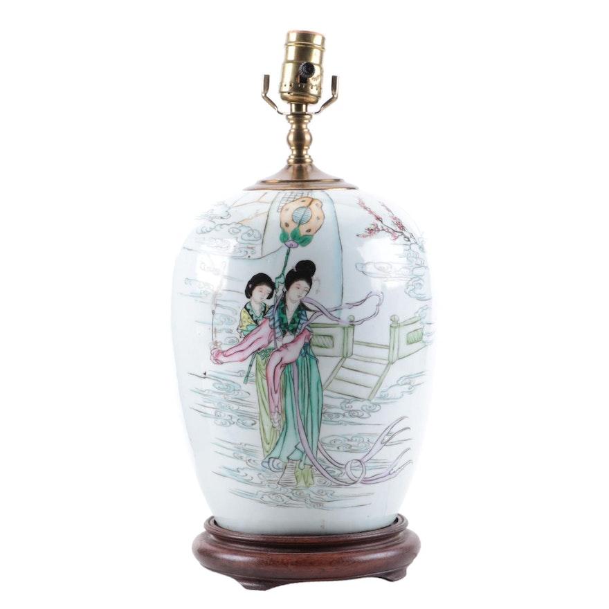 Chinese Ceramic Melon Jar Table Lamp