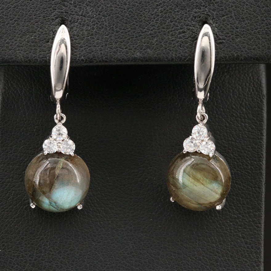 Sterling Round Labradorite Cabochon Earrings with Cubic Zirconia Accents