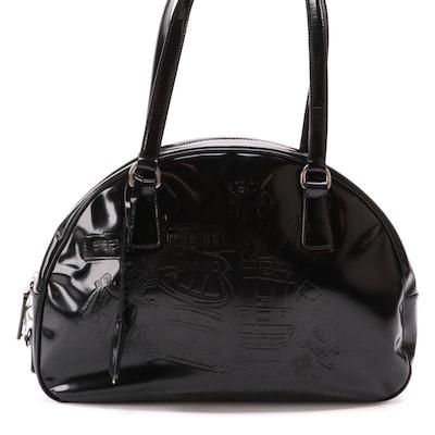 Prada Embossed Black Glazed Leather Bowler Bag