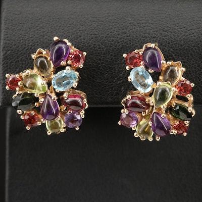 14K Mixed Gemstone Cluster Earrings