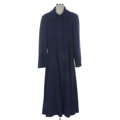 Simpson Purple Wool and Cashmere Overcoat with Princess Seams