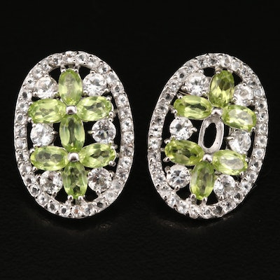 Sterling and Peridot Openwork Button Earrings