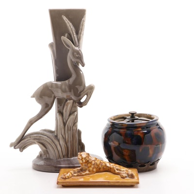 "Aonian Humidor Jar, Royal Haeger ""Gazelle"" Vase, Cheetah Form Pottery Lid"