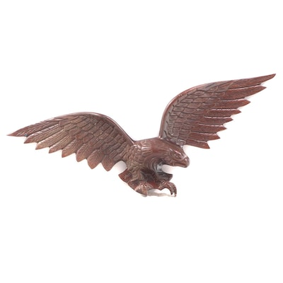 Carved Mahogany Spread-Wing Eagle Wall Plaque