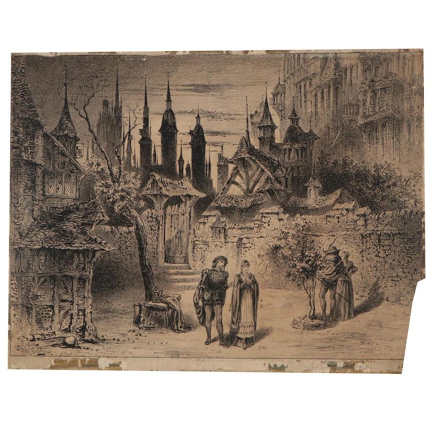 "Herbert Railton Ink Drawing ""Faust at the Lyceum,"" 1886"