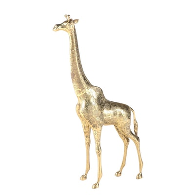 Cast Brass Giraffe, Late 20th Century
