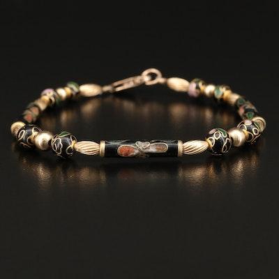 Asian Inspired Gold Filled Cloisonné Bead Bracelet