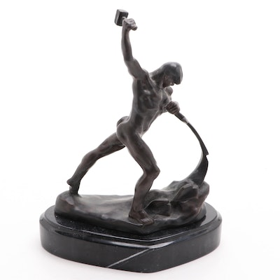 """Bronze Sculpture After Yevgeny Vuchetich """"Let us beat Swords into Plough Shares"""""""