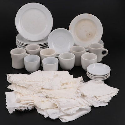J. & G. Meakin Hanley with Other Ironstone Dinner Plates and Table Linens