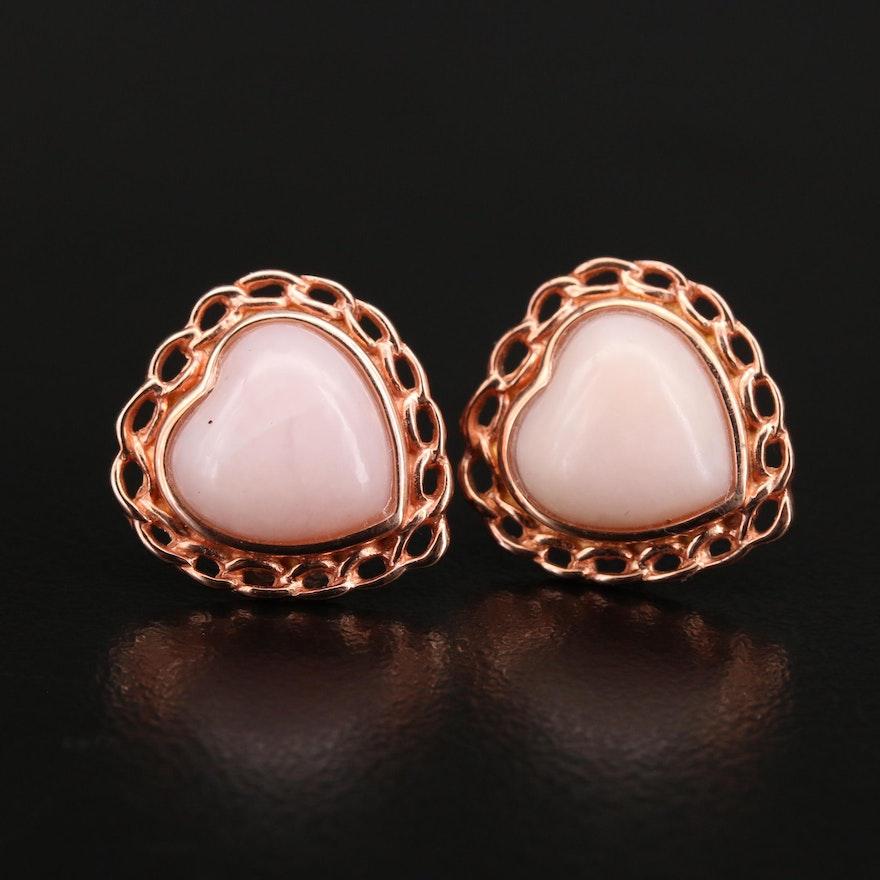 Sterling Opal Heart Earrings