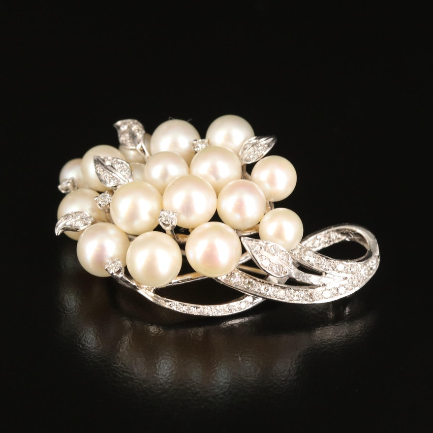 1950s 14K Pearl and Diamond Cluster Brooch