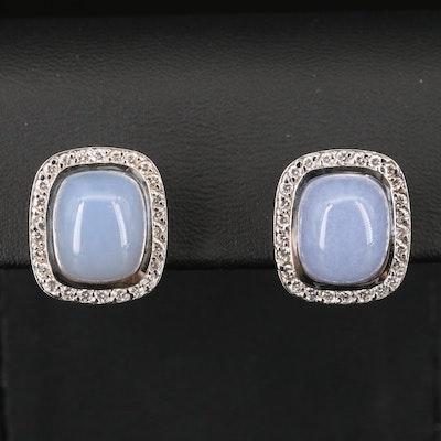 18K Chalcedony and Diamond Halo Earrings