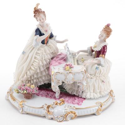 Unterweißbach Women at the Piano Porcelain Lace Figurine