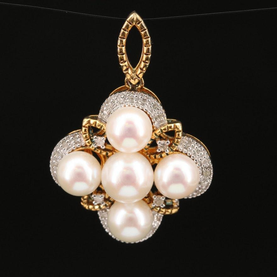 Sterling Silver Pearl and Diamond Quatrefoil Pendant