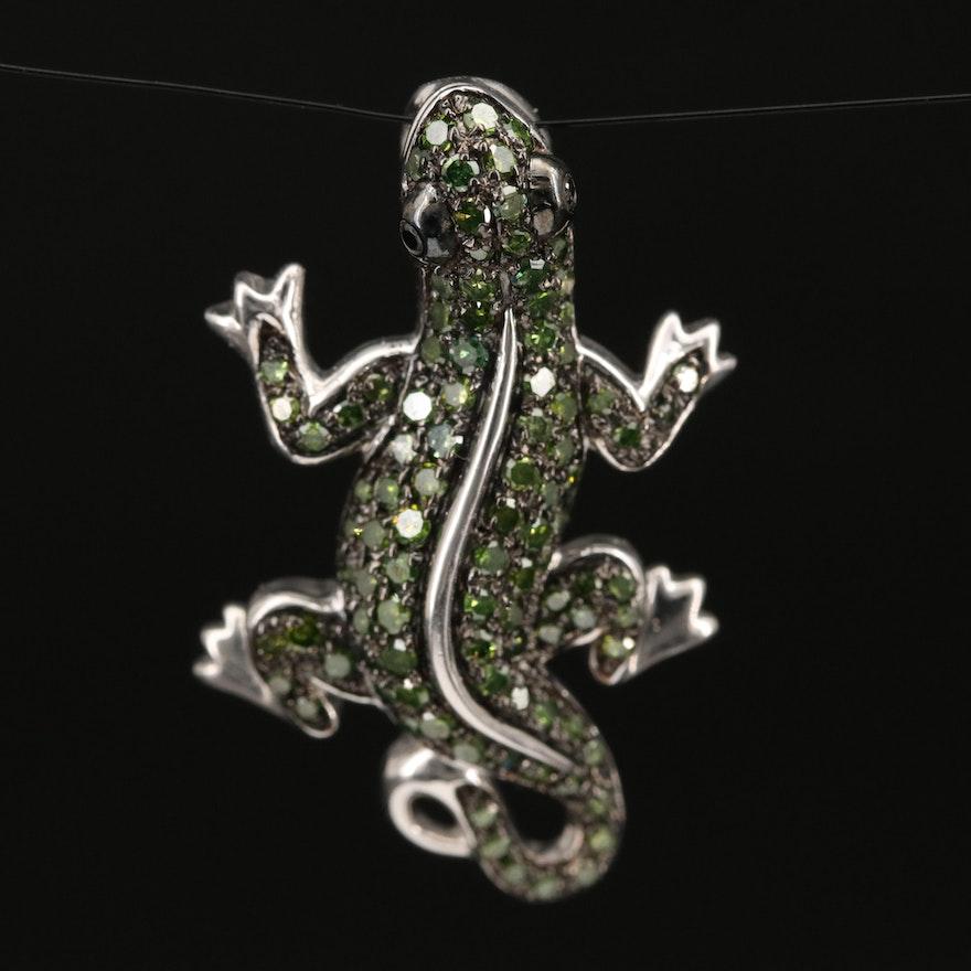 Sterling Silver Diamond Lizard Pendant