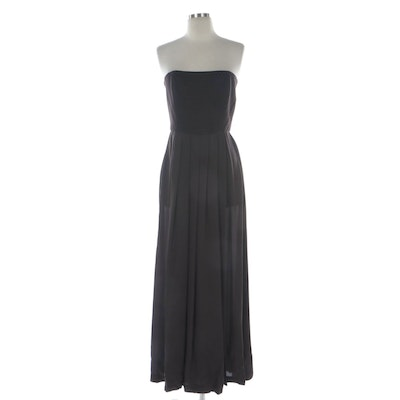 Ellen Tracy Quilted Bodice and Pleated Brown Chiffon Strapless Evening Dress