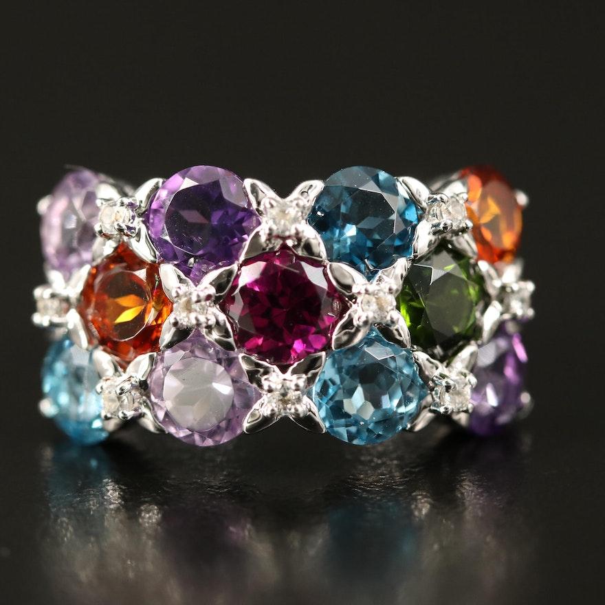 Sterling Silver Diopside, Rhodolite Garnet and Amethyst Ring