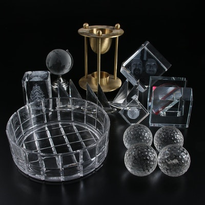 Laser and Acid-Etched Crystal and Glass Paperweights, Golfballs and Office Decor