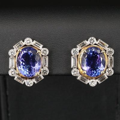 18K and Platinum 14.81 CTW Tanzanite and 3.12 CTW Diamond Halo Earrings