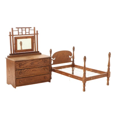 Stained Pine Wood Doll Dresser with Mirror and Maple Wood Doll Bed