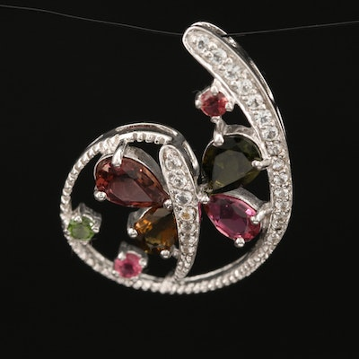Sterling Silver Tourmaline and White Topaz Dragonfly Pendant