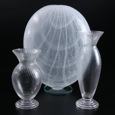 Art Glass Sculpture with Towle Austrian Lead Crystal Vases