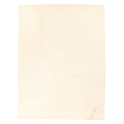 9' x 12' Hand-Knotted White Room Sized Rug