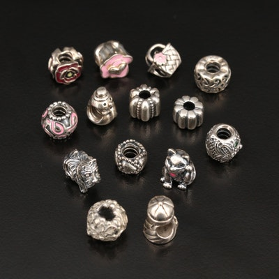 Sterling Cubic Zirconia and Enamel Charms Featuring Pandora and Chamilia