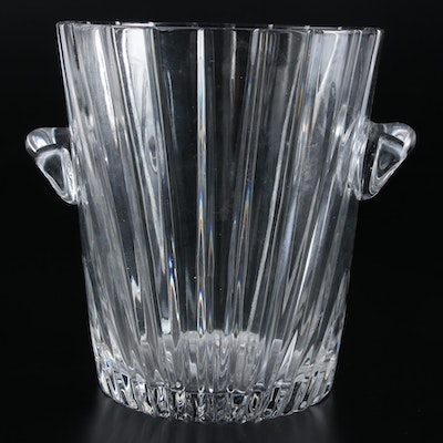 Large Pressed Glass Ice Bucket with Handmade Handles
