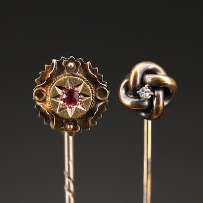 Antique 14K and 15K Ruby Stick Pins