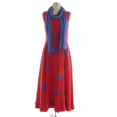 Geometric Print A-Line Sleeveless Dress with Neck Scarf