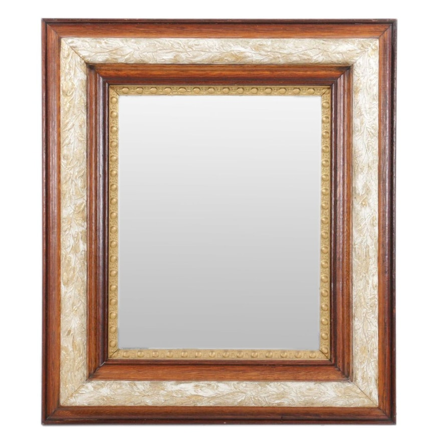 Paint-Decorated Carved Wood Frame Wall Mirror
