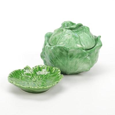 Holland Mold Ceramic Lettuce Covered Dish and Italian Ceramic Lettuce Leaf Plate