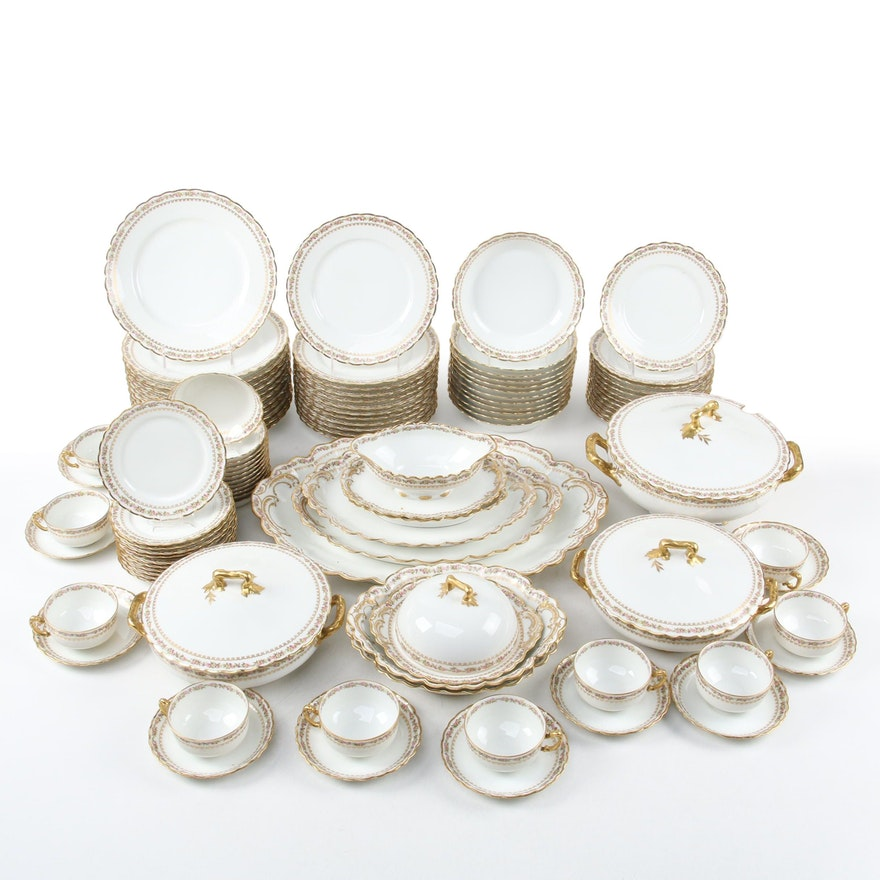 Haviland Limoges Porcelain Setting for Twelve with Serving Pieces, Antique