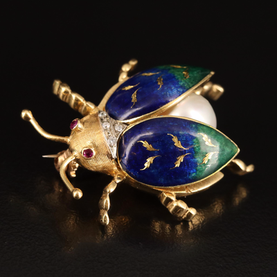 Italian Vintage 18K 10.00 mm Pearl, Ruby and Diamond Insect Brooch