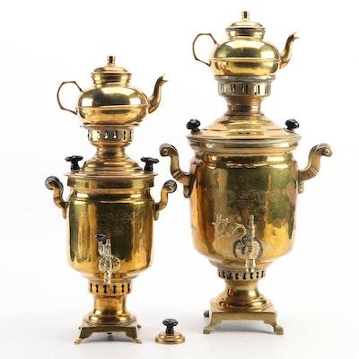 Russian Salisheva and Turkish Garanti Brass Samovars with Teapots