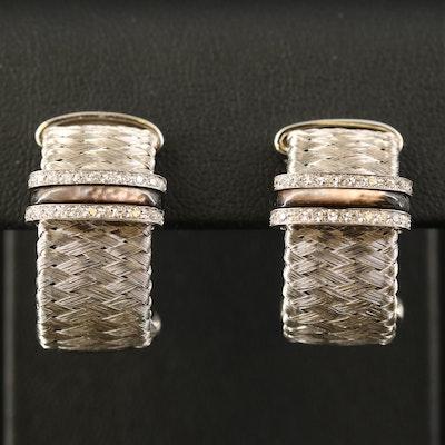"""Roberto Coin """"Silk Weave"""" 18K Diamond and Mother of Pearl J-Hoop Earrings"""