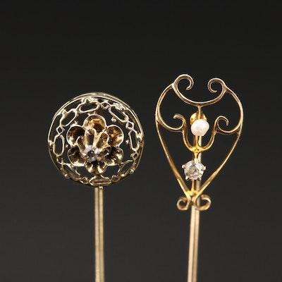 Vintage 14K Diamond and Seed Pearl Stick Pins
