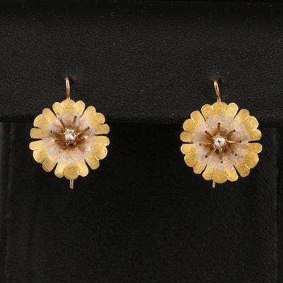 Antique 14K Tri-Colored Diamond Flower Earrings